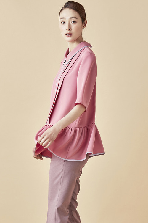 Pink Shirring Blouse