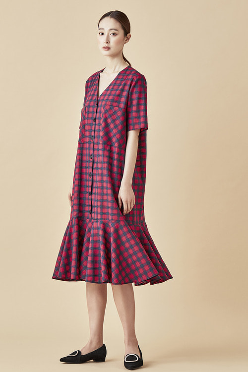 V-neckline Check Cotton Dress