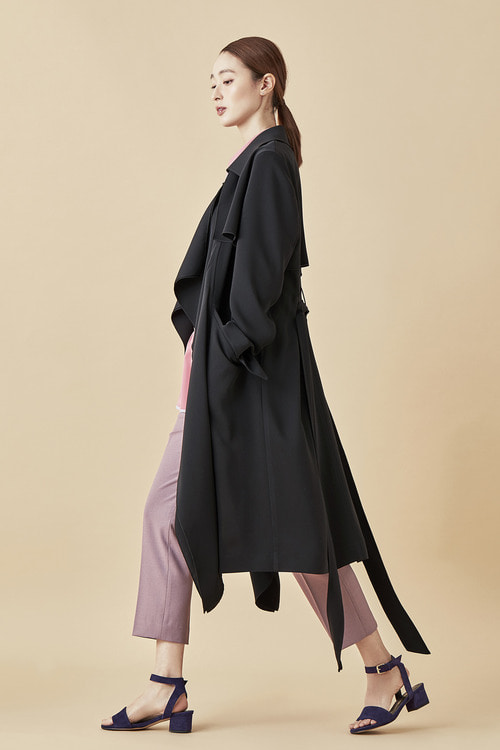Drape Trench Coat - Black
