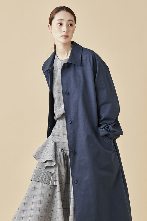Single Trench Coat - Navy