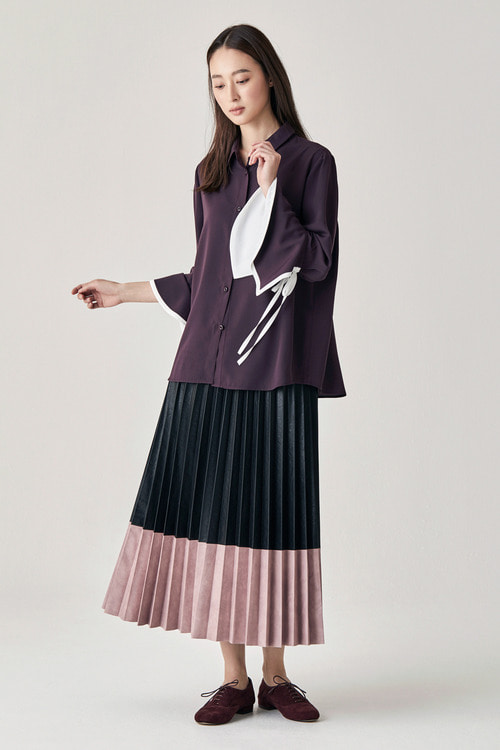 Full Pleats Skirt - Light Purple