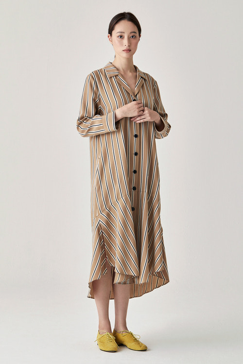 Camel Stripe Shirring Dress