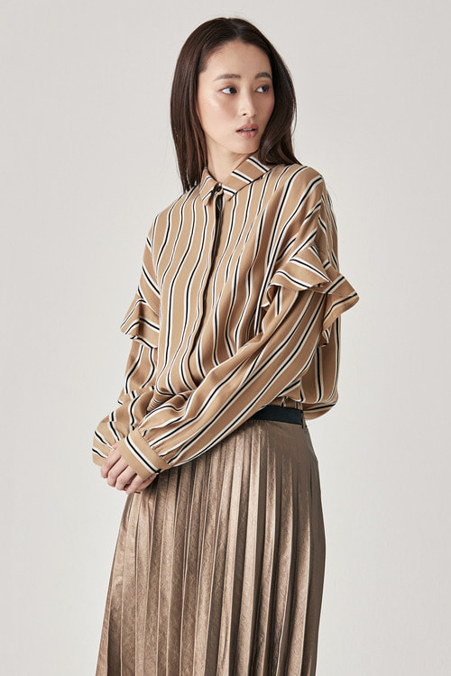 Camel Stripe Shirring Blouse