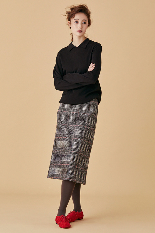 Glen Check Wool Skirt