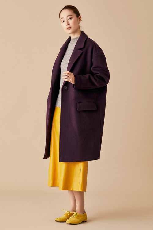 Felted Wool Coat - Deep Purple