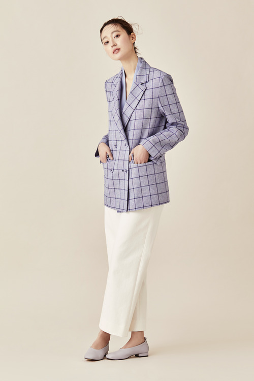 Linen Cotton Tailored Double Jacket