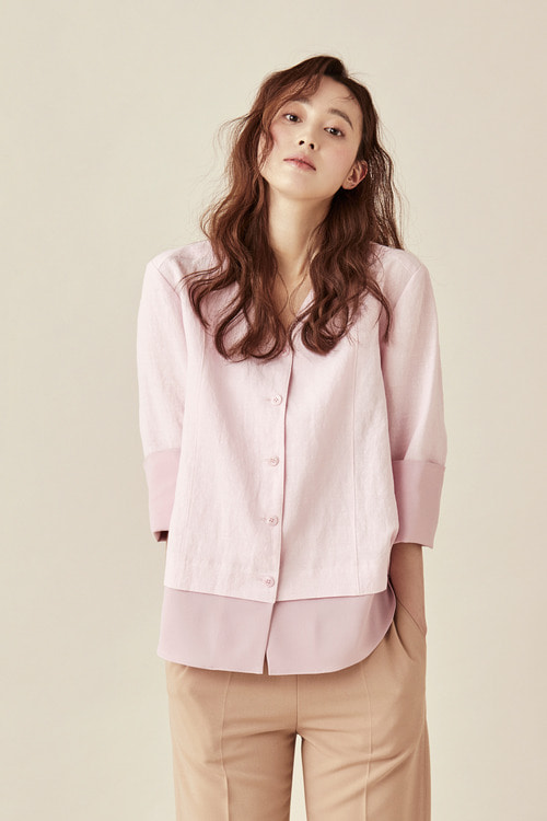 V Neckline Shirred Back Blouse (PINK리오더중,4월넷째주중발송)
