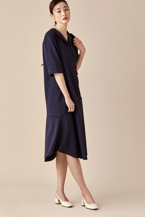 Navy Whole Piping Dress