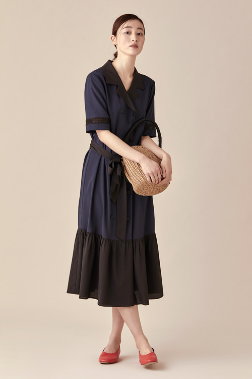 Double Button Shirring Dress