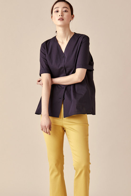 V Neckline Cotton Blouse