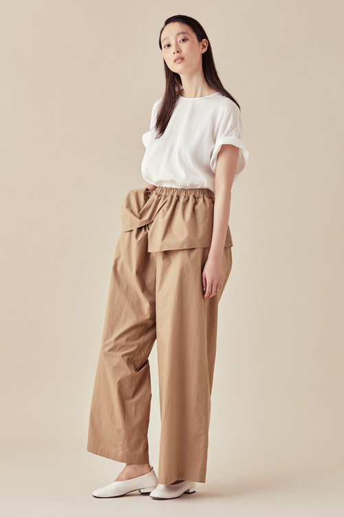 Layered Banding Wide Pants