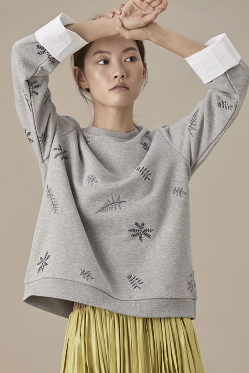 Embroidered Cotton Sleeve Sweatshirt
